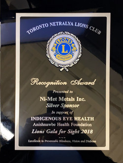 Recognition Award - Toronto Netralya Lio