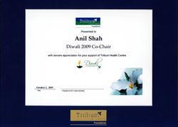 Trillium Health Centre-Diwali 2009 Co-chair