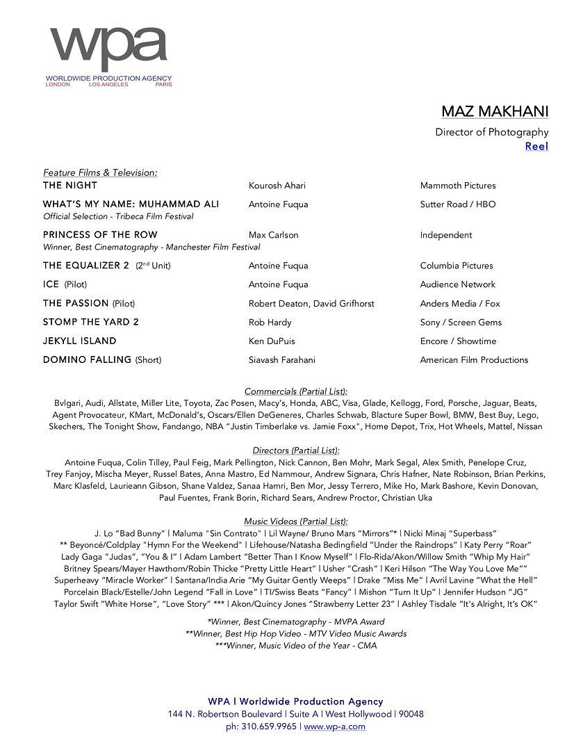 Maz Makhani DP   RESUME