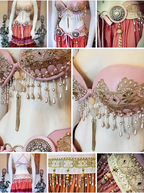 Vintage Blush Bra/Belt Set