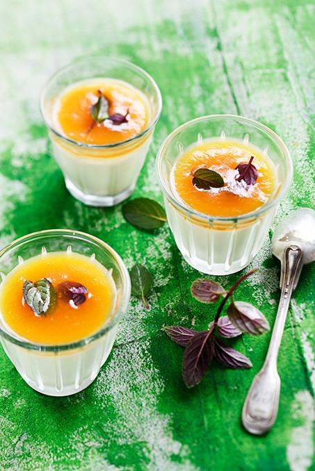 Panacotta - panacotta à la gelée de melon et menthe poivrée
