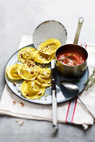 raviolis au légumes et sauce tomate