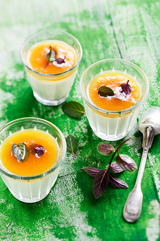 panacotta à la gelée de melon et menthe poivrée