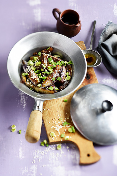 aubergines sautées à la sauce d'huitre et ciboule