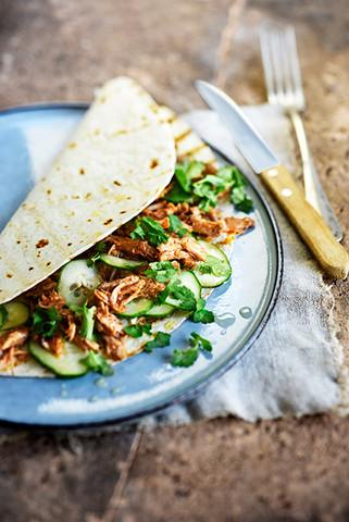 tacos de pulled pork et concombre