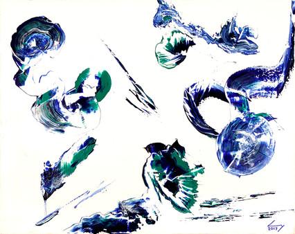 Dans le bleu 40x50 cm huile sur châssis n° 1707