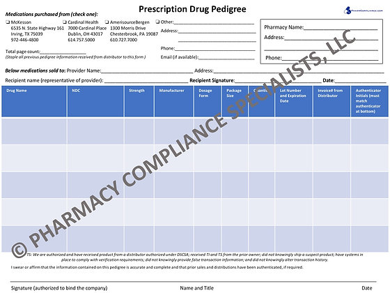 Prescription Drug Pedigree Form