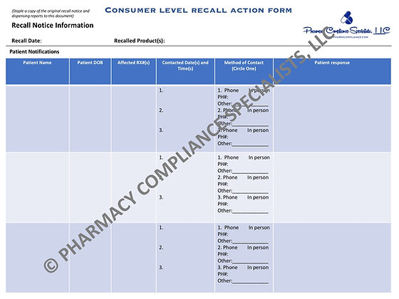 Consumer-Level Recall Action Form