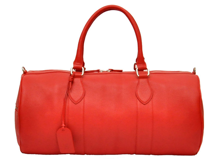 Circle Duffel Leather Bag - Red