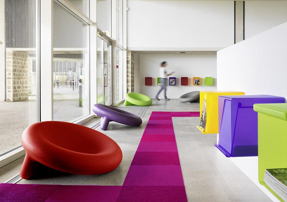 fauteuil siège hop pascal bauer design futuriste avant garde avant gardiste médiathèque bibliothèque enfant marrant amusant couleur recyclable