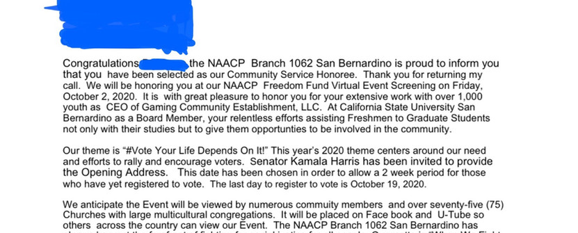 NAACP Recognition 2020