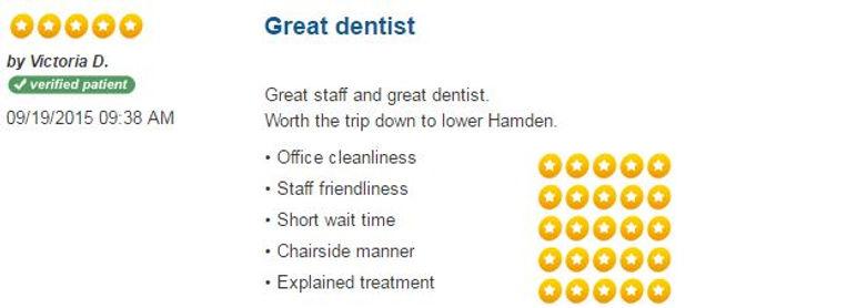 Patient Reviews, dental reviews, friendly dentist, dentist hamden, dentist New Haven, Connect Family Dental, inexpensive dentist, caring dentist