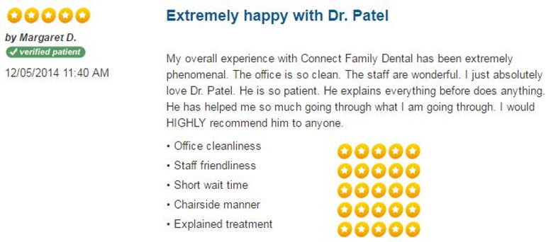 Patient Reviews, dental reviews, friendly dentist, dentist hamden, dentist New Haven, Connect Family Dental, inexpensive dentist, caring dentist, family dentestry