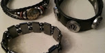 Black Leather & Metal Assorted Men's Bracelets