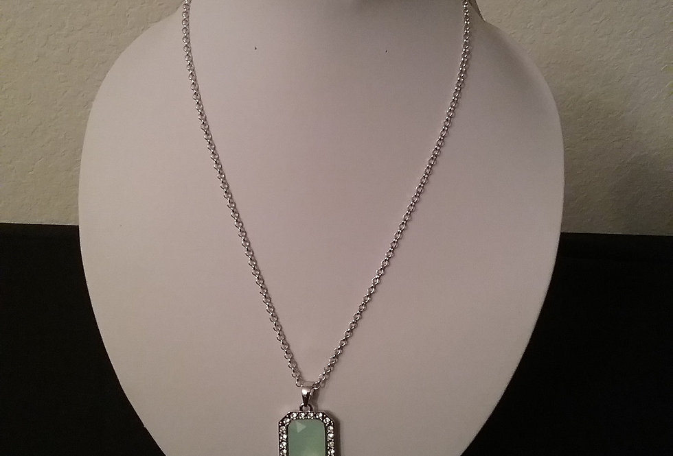 Lime & Crystal Necklace with Matching Earrings