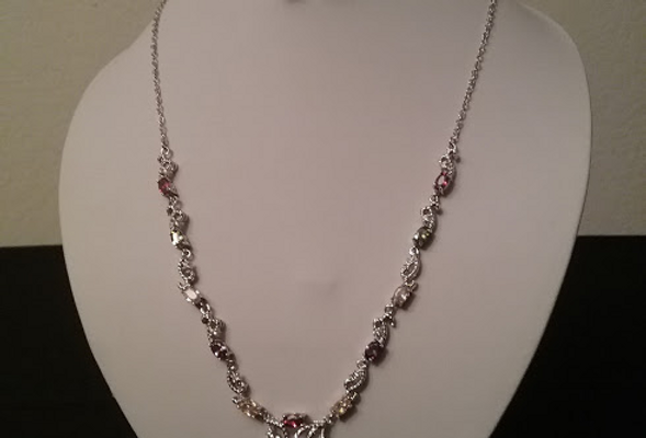 Ruby Crystal Necklace with Matching Earrings