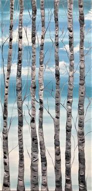 Blue sky birches