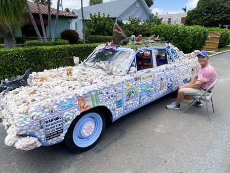 SHELL ON WHEELS: Florida Man shellacks classic car with seashells from the seashore