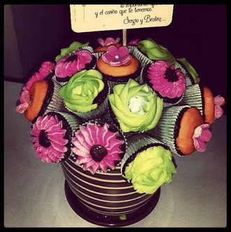 Colorful mini cupcake flower pot