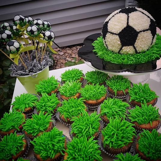 This soccer set, smash cake, cupcakes an