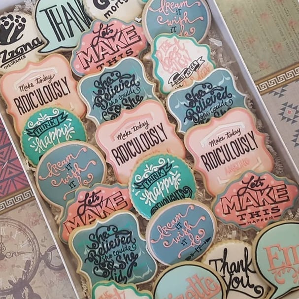 Making cookies with positive messages wi