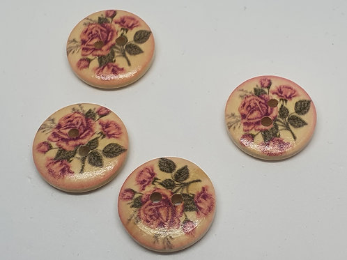 Holzknöpfe Rosen