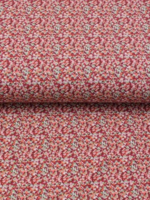 Baumwolljersey Blümchen rot