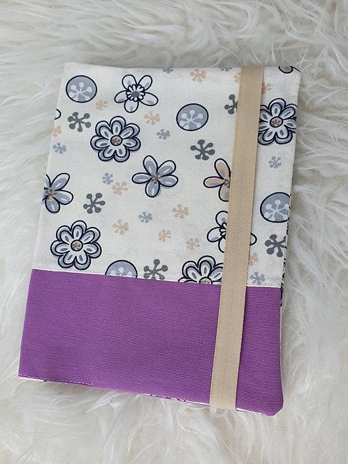 Buch / U-Heft / Kalender Hülle Lila Blumen