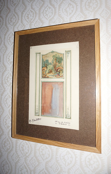 M.Mantelet 'Original Watercolour of French a Interior' c.1925