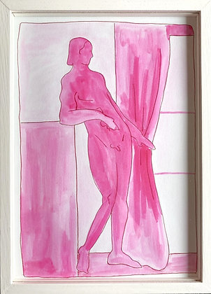 Louise Benton, 'Pink Nude by Pink Curtain' 2021