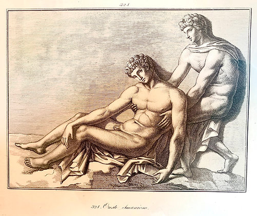 'Two Male Figures' Engraving c1800