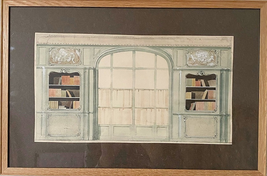 M.Mantelet, 'Study of a French interior (Library)'1925