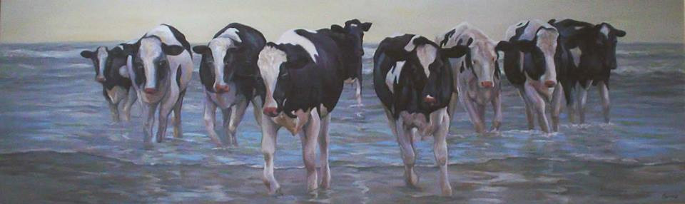 Cows Coming Out of the Ocean