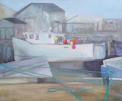 White Boat & Buoys