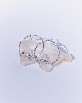 Crystal Quartz Hoops