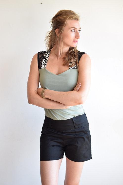 חולצת לואיז מנטה וזברה