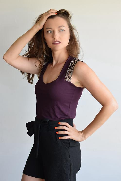 חולצת לואיז  סגול חציל/מנומר
