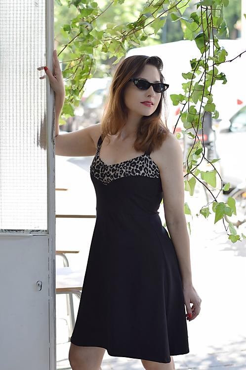 שמלת טנסי שחור/מנומר