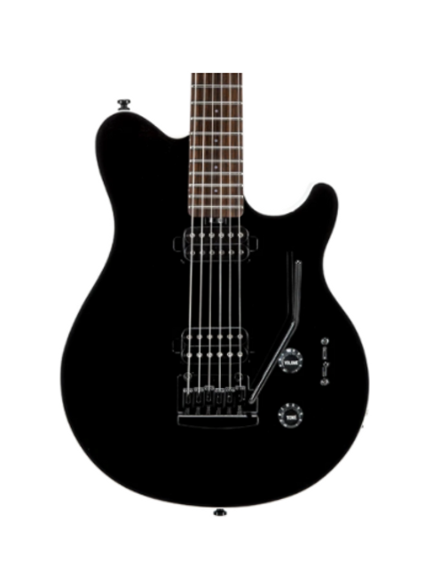 Sterling AX3S Axis Electric Guitar, Black Body with White Binding by Music Man