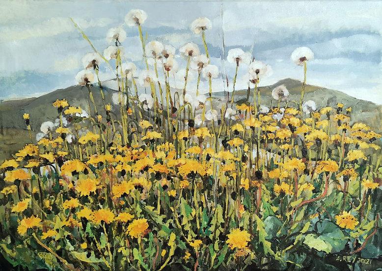 Sienna z cyklu Przez kwiatki, olej na płótnie