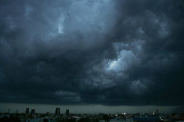 Storm clouds over the Meenakshi Amman temple.