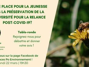 Face book live QUELLE PLACE POUR LA JEUNESSE dans la préservation de la Biodviersité