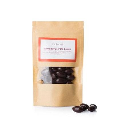 Almendras bañadas en chocolate orgánico 70% de cacao