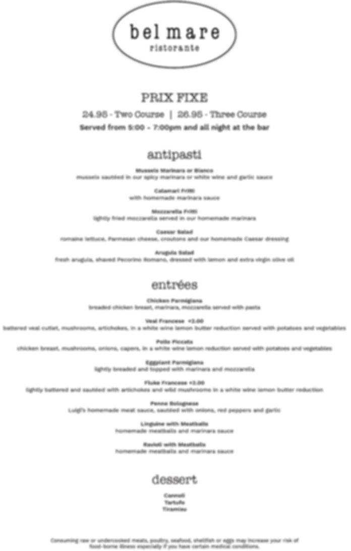 prix fix menu