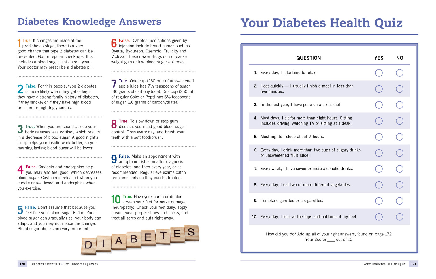 Diabetes Quiz Answers