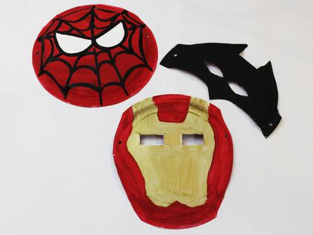 Iron Man, Spider-Man and Batman Paper Plate Masks!