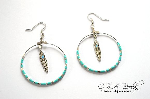 Boucles d'oreilles créole bleu, argenté