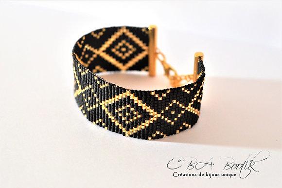 Bracelet tissé noir et doré