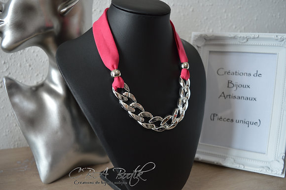 Collier chaine gros maillons, fushia