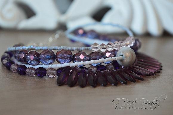 Bracelet multirang violet et blanc